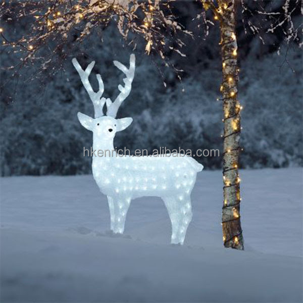 Christmas 120cm Led Light Up Acrylic Reindeer Outdoor Decoration  Buy White Christmas Reindeer