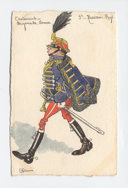 soldier sketched in comical form, marching, caped, plume in squat hat