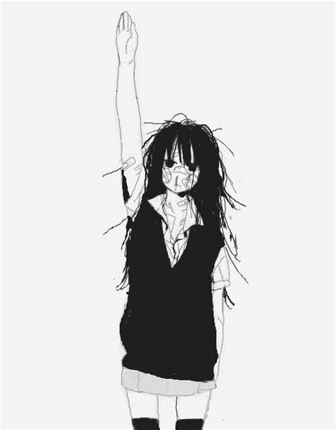 art black  white sad lonely anime  anime girl