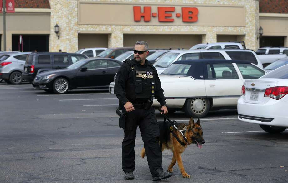 "Security officer Justin Owen patrols Monday February 6, 2017 at the H-E-B Lincoln Heights store with a S.E.A.L. Security canine officer ""Fak"" (cq). H-E-B is bringing canine security officers to seven stores in the San Antonio area as part of a partnership with Houston-based S.E.A.L. Security Solutions. ""Fak"" is a four-year-old German Shepherd. Photo: John Davenport /San Antonio Express-News / ©San Antonio Express-News/John Davenport"