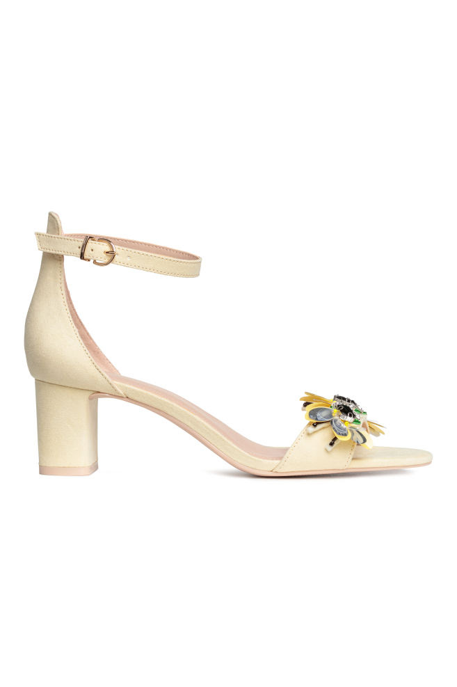 Sandały na klockowym obcasie - Jasnożółty - ONA | H&M PL 1