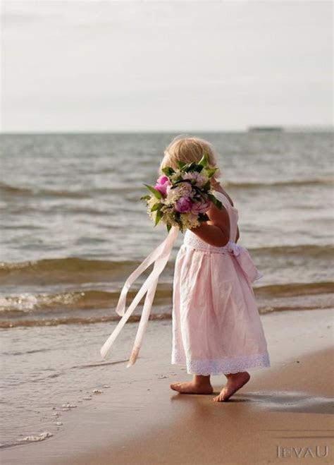 Beach Weddings Pink Linen Flower Girl Dress   Handmade