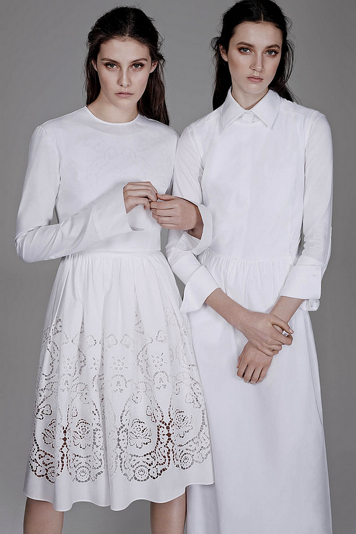 Le Fashion Blog All White Everything The Wall Street Journal Max Mara Dress Cut Out Lazer Cut Skirt The Simplicity of the White Shirt WSJ Magazine Spring 2014 Photographer Ben Weller Stylist Zara Zachrisson Models Matilda Lowther and Charlotte Wiggins Romantic Natural Beauty Hair 6 photo Le-Fashion-Blog-All-White-Everything-The-Wall-Street-Journal-Max-Mara-Dress-6.png