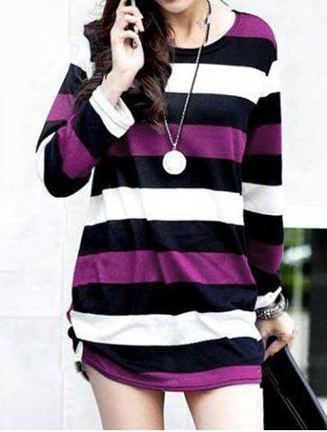 Casual Round Neck Long Sleeve Striped Maternity Women's T-Shirt