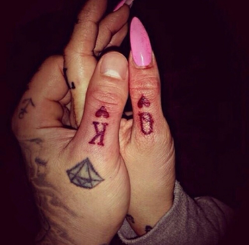 King Queen Hand Tattoo Pointed Nails Matching Couple Tattoos