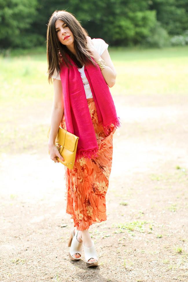 Vintage Maxi Skirt, Aldo nude heels, Loft gold cuff, Asos yellow clutch, Hot Pink Cashmere Scarf