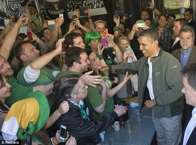 Support: The Dubliner's owner predicted that the president could, at least on St Patrick's Day, count on the support of the millions of Americans who claim Irish ancestry