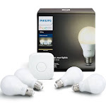 Philips Hue A19 Medium Dimmable LED Light Bulb Starter Kit, White - 4 count