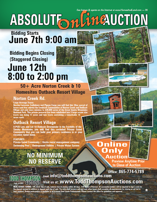 TODD THOMPSON AUCTIONS - ABSOLUTE ONLINE AUCTION - BIDDING STARTS JUNE 7th @ 9:00 AM - AuctionsAcrossTN.com