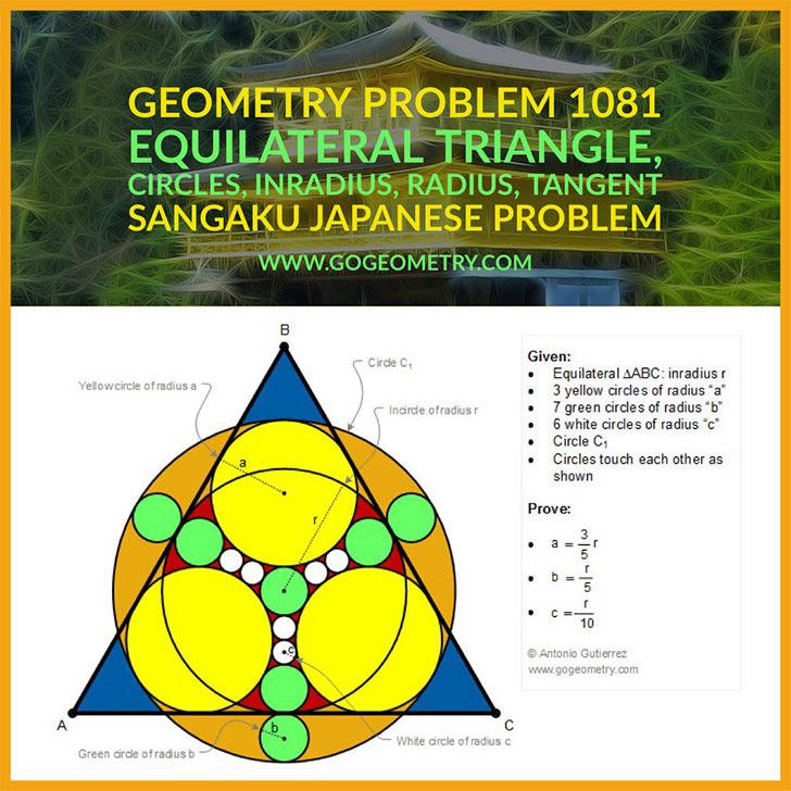 Problema de Geometría 1081. Sangaku, Problema Japones, Triangulo Equilatero, Circunferencias, Tangentes, Radios, iPad, Apps, poster, tipografia. Ingles ESL.