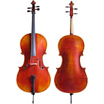 Dluca Flamed Cello Outfit with Ebony Fittings and Antique Finish, 4/4 Full Size