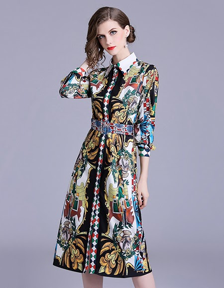 Print Vintage Casual Shirt Dress
