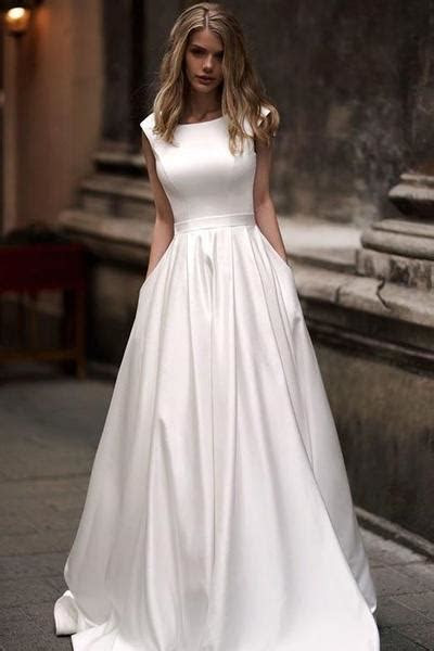 Simple Long Satin A line Wedding Dresses with Pockets