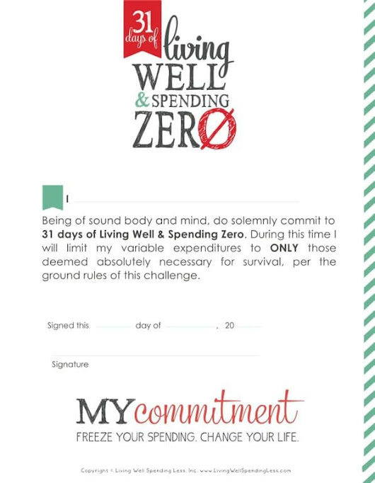 31 Day Spending Freeze Commitment