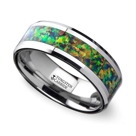 Blue & Orange Opal Inlay Men's Wedding Ring in Tungsten