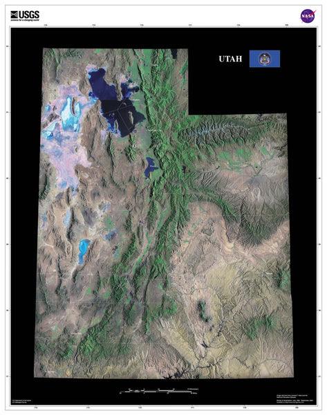 Utah Satellite Poster Map Aerial Views From Space