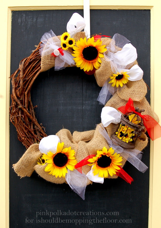 Burlap and Sunflower Wreath/pink polka dot creations