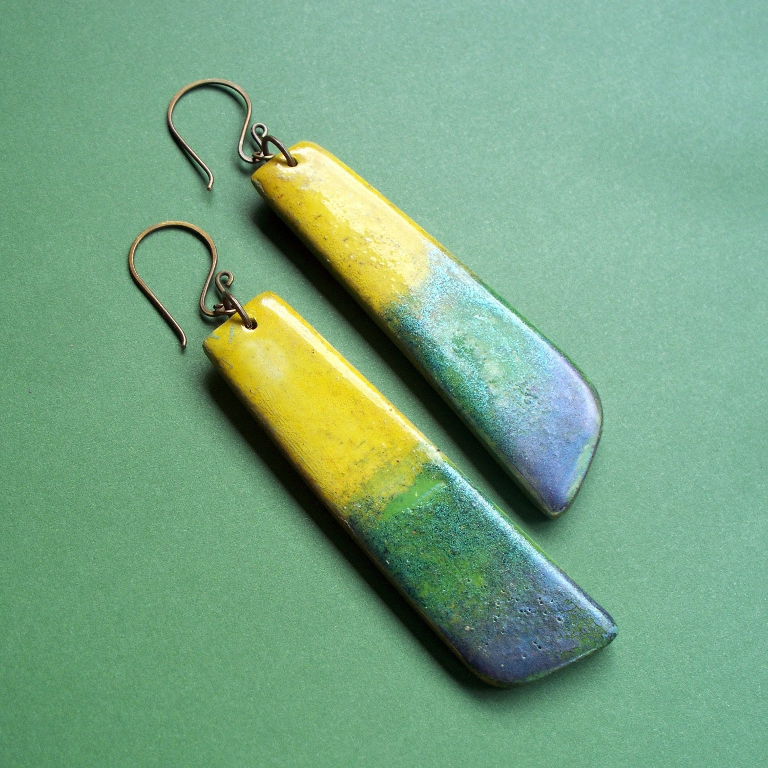 Sol Verde - Yellow and Green Dangle Earrings
