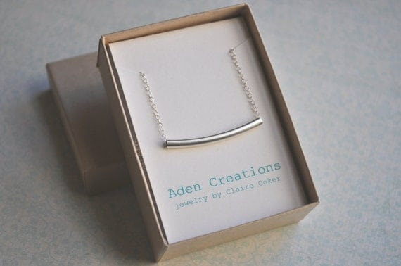 Curved Bar Necklace - sterling silver bar sleek simple modern jewelry - adencreations