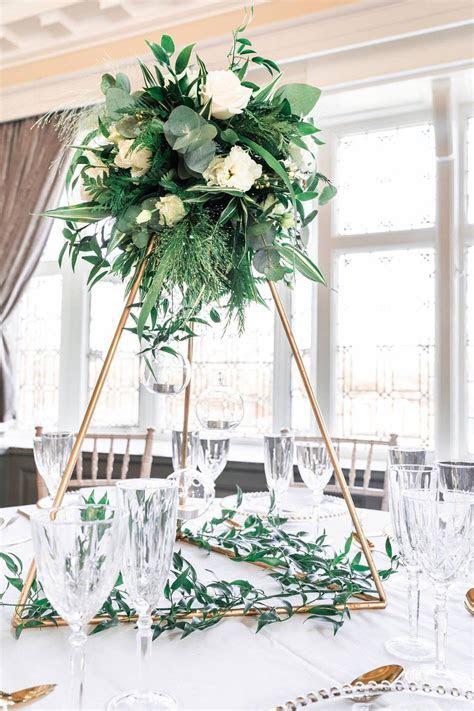 Triangle Table centre piece or Ceremony Aisle decor. Geo