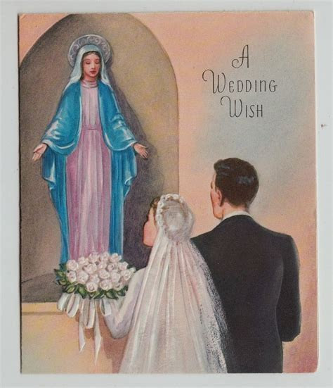 Vintage Bride Groom with Mother Mary Wedding Greeting Card