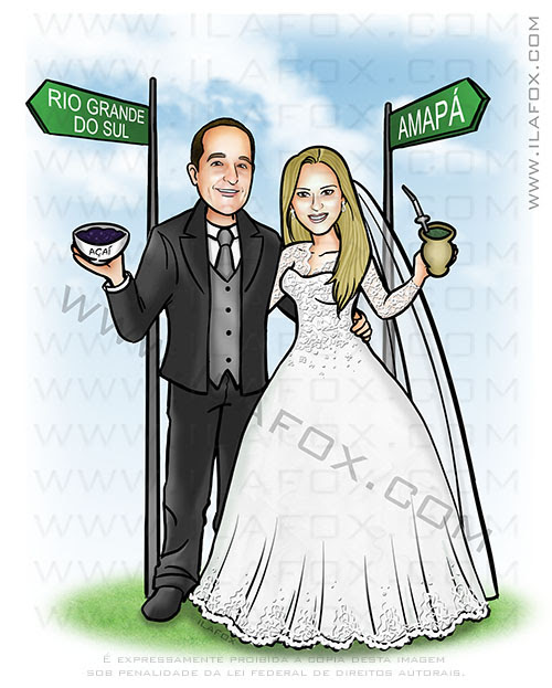 caricatura personalizada, caricatura casal, caricatura romântica, caricatura noivos, caricatura para casamento, caricatura noivinhos, by ila fox