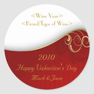 Valentine's Day Personalized Wine Label sticker