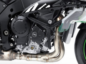 The 998cc in-line four gets stronger cases, increased cam clearance and DLC-coated tappets.