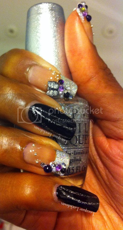 Lacquer Lockdown - OPI DS Coronation, Orly Liquid Vinyl, bling manicure, girly manicure, special ocassion manicure, nail art, rhinestones nail art, blingy french tips, bling nail art, kiss nail art