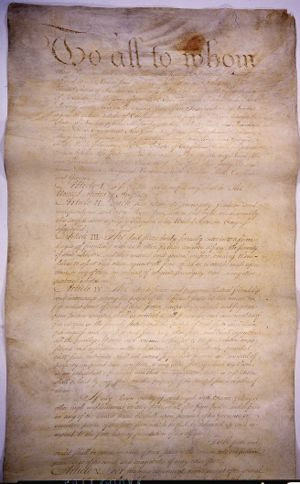The Articles of Confederation, ratified in 178...
