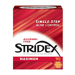Stridex Daily Care Alcohol Free Maximum Pads - 90 Ea