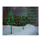 Inliten 9338104 Celebrations LED Christmas Tree Pathway Markers Green - 3 Piece