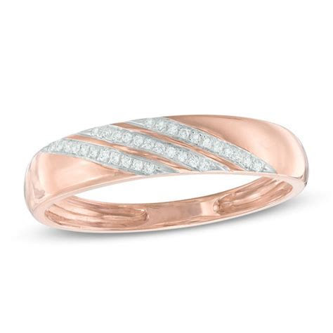 Men's Diamond Accent Comfort Fit Slant Wedding Band in 10K