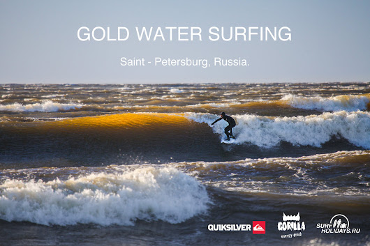 Gold water surfing. Saint Petersburg, Russia.
