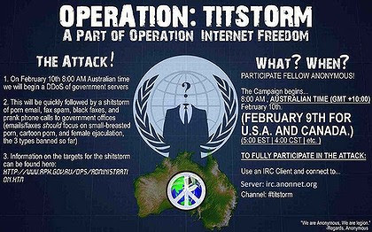 A flyer Anonymous used to recruit people for the hack attack.