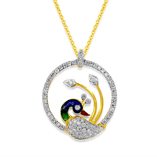 Diamond Peacock pendant set with 0.9 ct. diamonds handmade in 18kt. gold.