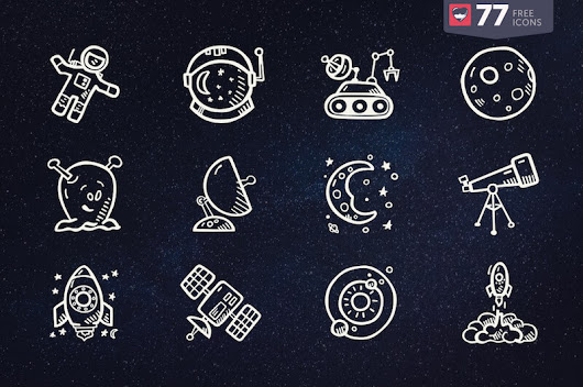 77 Hand-Drawn Space Icons That'll Take You Into Unexplored Territories (Freebie)