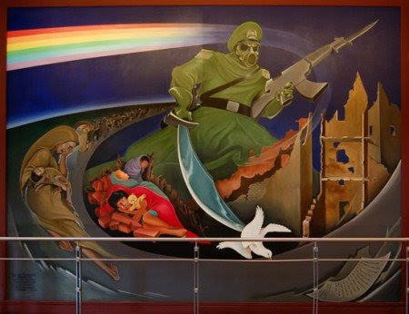 denver airport mural e1290284492917 Imagens e Símbolos  ocultos em afrescos da América