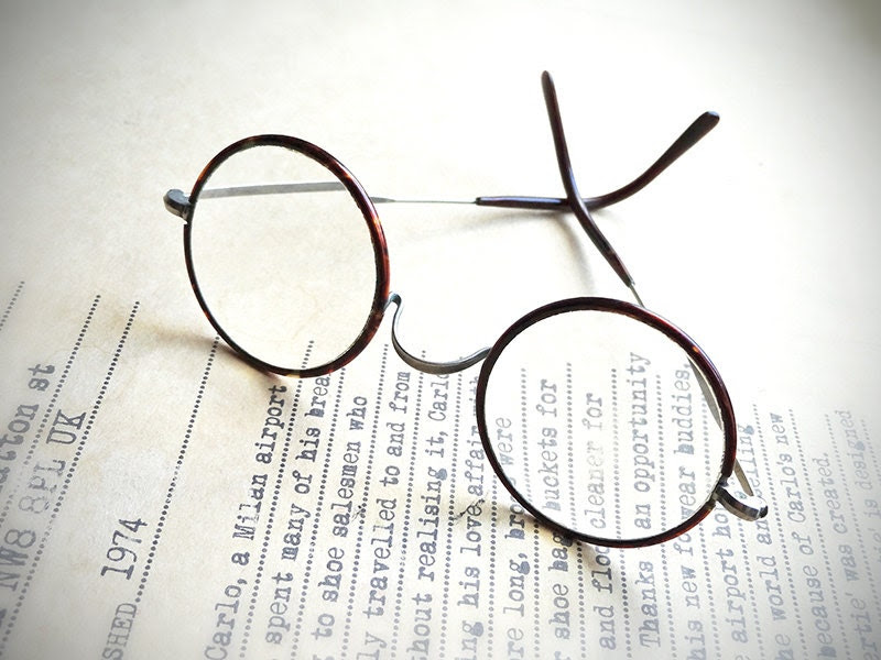 Antique Art Deco eyeglasses, 1930's vintage galalith and nickel rimmed glasses, John Lennon style - stephmelart