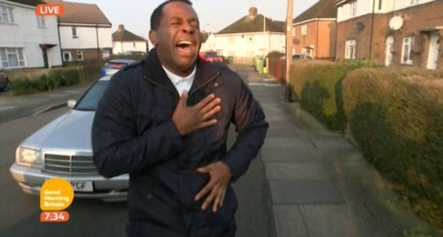 Hysterical: Andi Peters still managed to make a spectacular mess of a live link during Friday's edition of ITV's Good Morning Britain