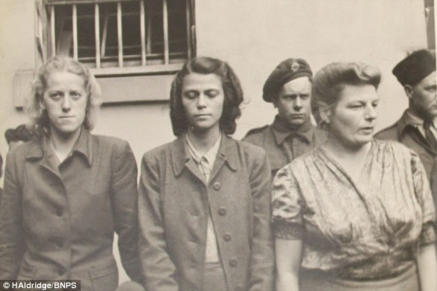 Pictured on the left is Herta Bothe, alongside two other female prisoners
