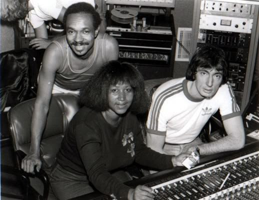 Van McCoy and Charles Kipps in the studio with Aretha and her Kools