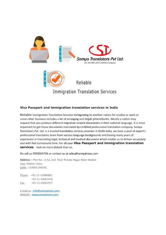 Visa passport and immigration translation services in india