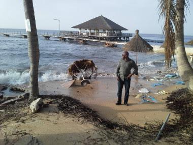 <p>Cada año, el mar avanza varios metros sobre la superficie de la playa y arrastra incluso las palmeras. / Abou Bamba (UNEP)</p>