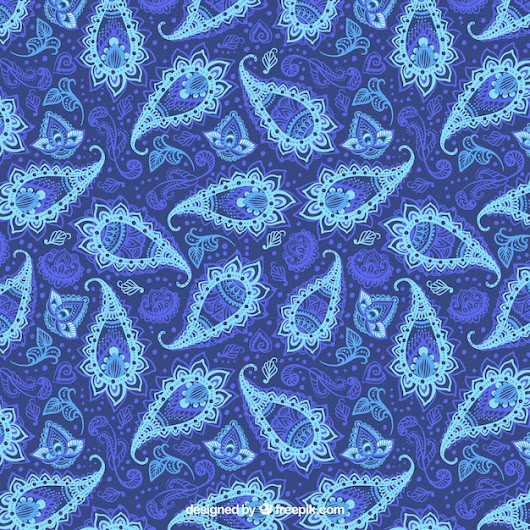 Blue pattern of bstract floral paisley