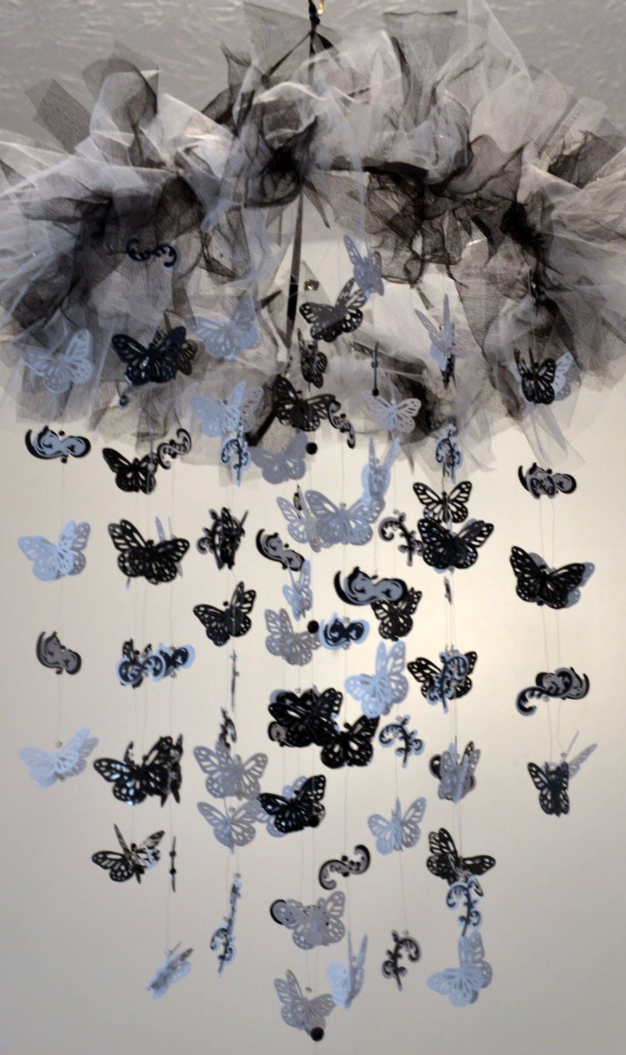 Classic Silhouettes Mobile (Black/White Butterfly Mobile) Nursery Decor, Baby Shower Gift READY TO SHIP