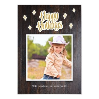 Rustic Wood Happy Holidays Photo Card