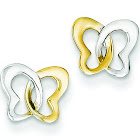 14K Gold and Rhodium Butterfly Post Earrings 7x8mm, Yellow