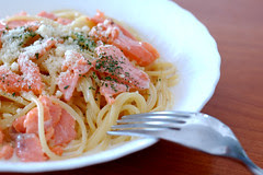 Smoked Salmon Pasta with cream sauce, Italian Food, Pasta, FX777, FX777222999, Creamy Sauce