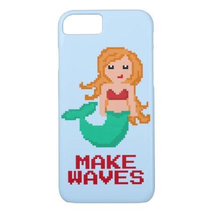 8Bit Pixel Geek Ocean Mermaid Make Waves iPhone 7 Case